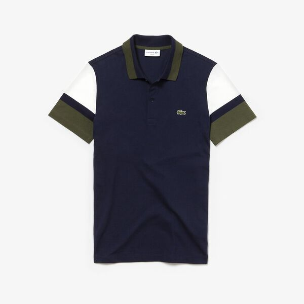 MEN'S SLIM PANEL SLEEVE POLO, NAVY BLUE/FLOUR/CAPER, hi-res
