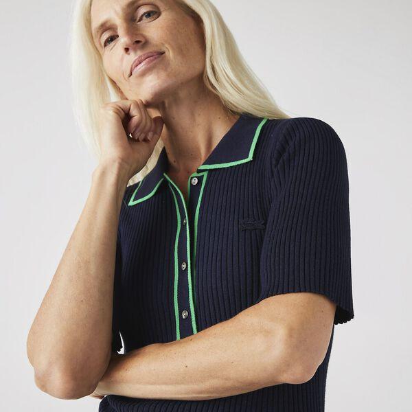 Women's Pleated Knit Polo Dress, NAVY BLUE/MALACHITE, hi-res
