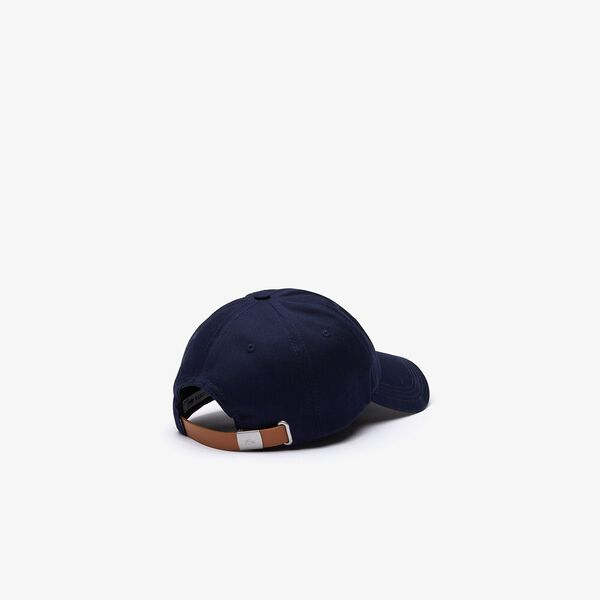 Men's Contrast Strap And Oversized Crocodile Cotton Cap, MARINE, hi-res