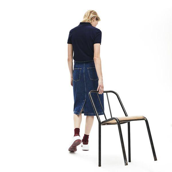Women's Slim Fit Stretch Mini Cotton Piqué Polo Shirt, NAVY BLUE, hi-res