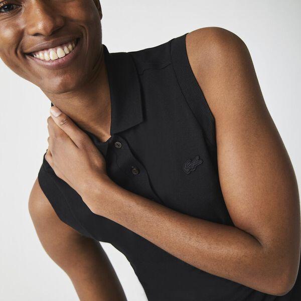 Women's Sleeveless Cotton Piqué Polo, NOIR, hi-res