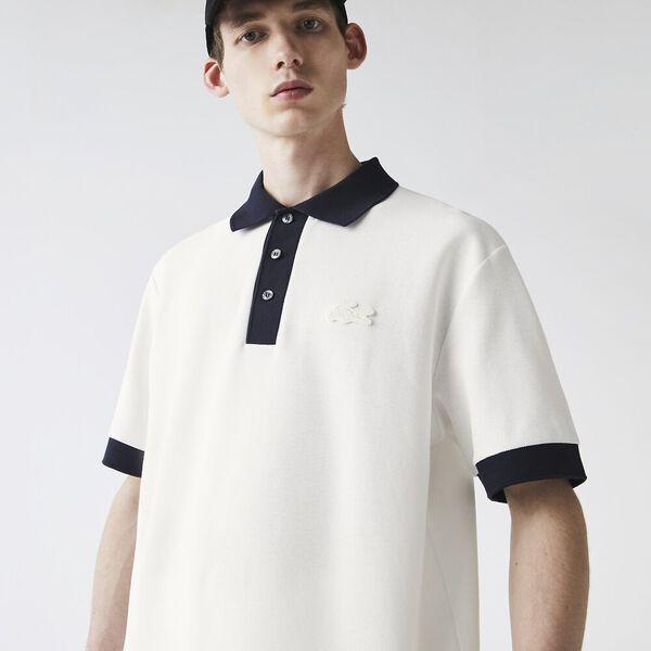 Men's Loose Fit Textured Cotton Piqué Polo