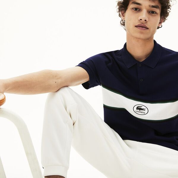 Men's Lacoste Panel And Badge Cotton Polo Shirt, MARINE, hi-res