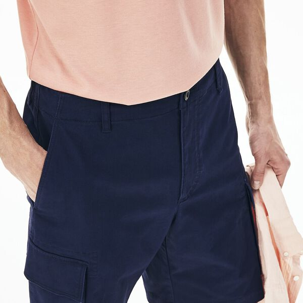 Men's Stretch Cotton Gabardine Cargo Fit Bermudas, MARINE SOMBRE, hi-res
