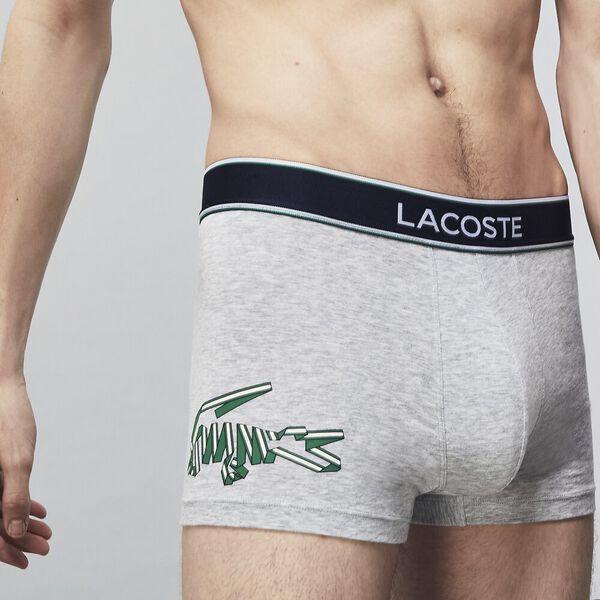 Mens Underwear  Trunk 3 Pack, SILVER CHINE/WHITE-NAVY, hi-res