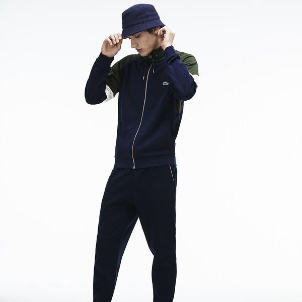 MEN'S COLOURBLOCK MOCK NECK ZIP SWEAT, NAVY BLUE/GEODE, hi-res