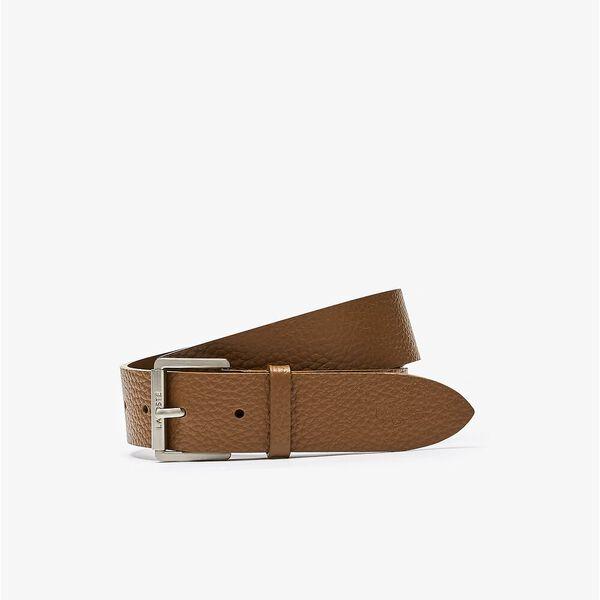 Men's Engraved Rolling Buckle Grained Leather Belt, RUBBER, hi-res