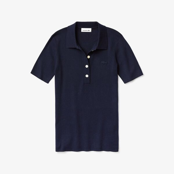 Women's Buttoned Polo Collar Sweater, NAVY BLUE, hi-res