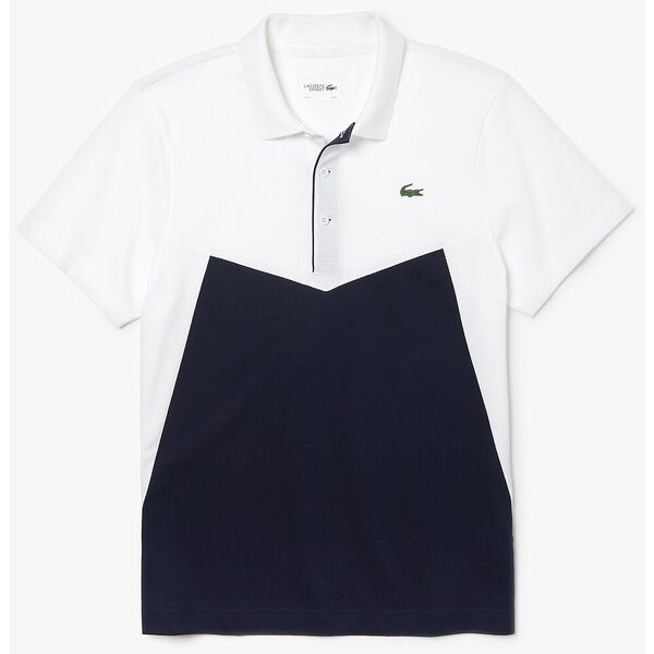 MEN'S TENNIS PERFORMANCE PANEL POLO, WHITE/NAVY BLUE, hi-res