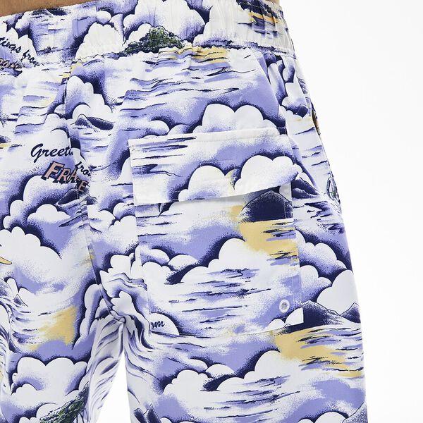 Men's Print Light Quick-Dry Long Swim Shorts, PURPY/CLUSI-BLANC, hi-res