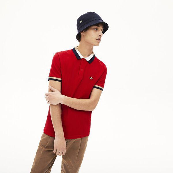 Men's Contrast Cotton Polo Shirt, ROUGE/MARINE-VIENNOIS-FARINE, hi-res