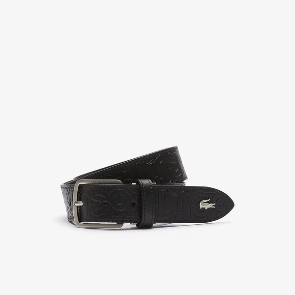 Men's Embossed Leather Tongue Buckle