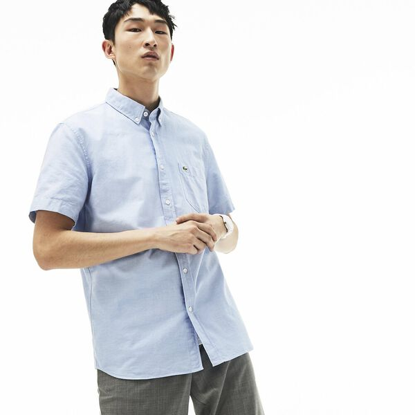 Men's Classic Short Sleeve Reg Fit Oxford Shirt, HEMISPHERE BLUE, hi-res