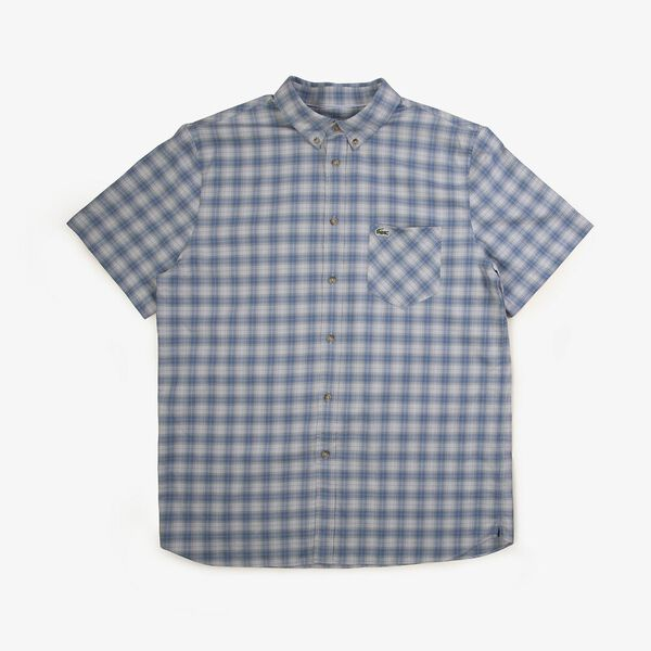 Men's Classic Short Sleeve Check Shirt, KING/SILVER CHINE, hi-res