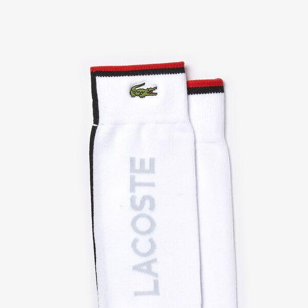 Men's Lacoste SPORT Colourblock Cotton Blend Tennis Socks, BLANC/CORRIDA-NOIR-ARMURE, hi-res