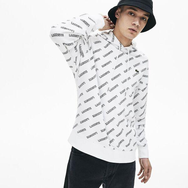 Men's L!ve All Over Print  Printed Fleece Sweatshirt, WHITE/BLACK, hi-res