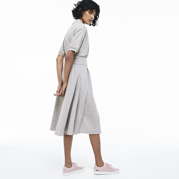 WOMEN'S PIQUE DRESS WITH BELT, SILVER CHINE, hi-res