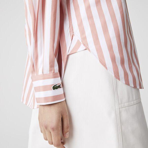 Women's Oversized Striped Poplin Shirt, ELF PINK/WHITE, hi-res