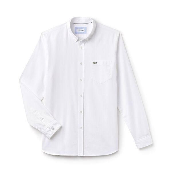 Men's Classic Long Sleeve Reg Fit Oxford Shirt, WHITE, hi-res