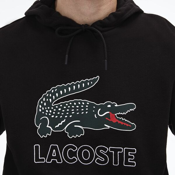 Men's Lacoste Croc Pullover, BLACK, hi-res