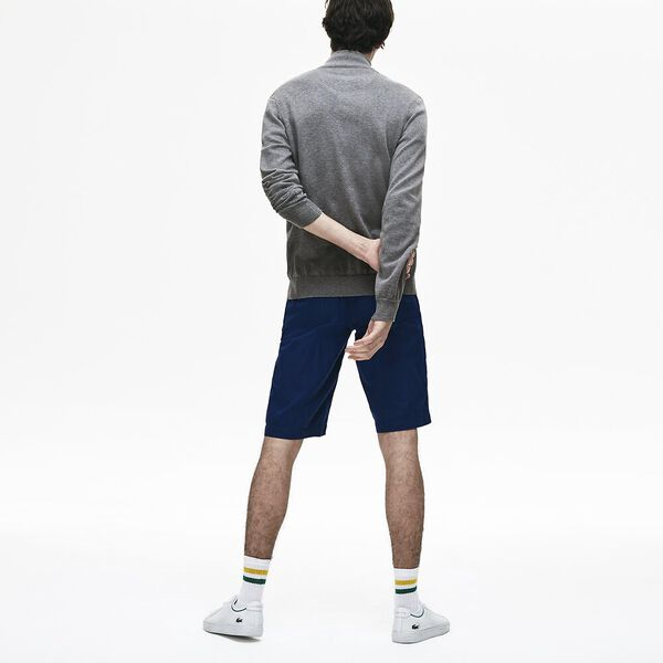 Men's Classic Half Zip Mock Neck Knit, GALAXITE CHINE/FLOUR-STONE, hi-res