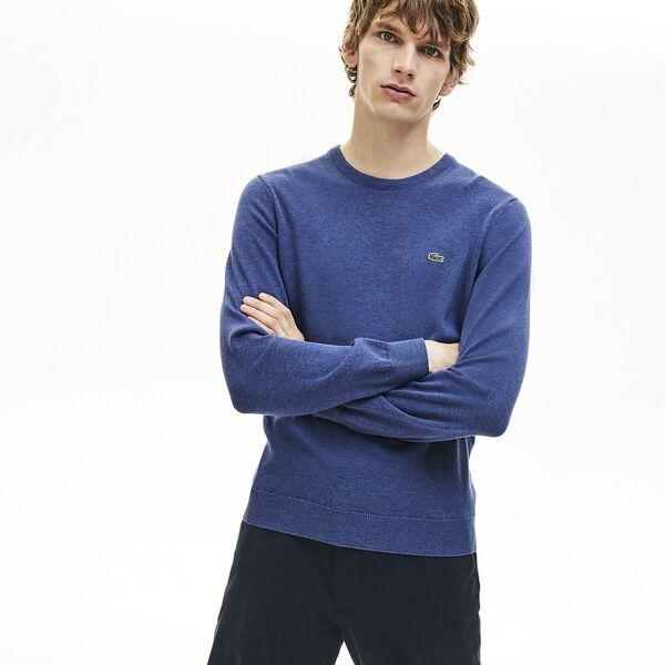 Men's Classic Cotton Crew Neck Knit, ALBY CHINE/FLOUR-NAVY BLUE, hi-res