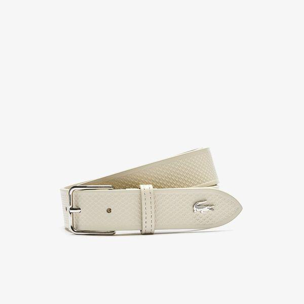 Men's Metal Crocodile Stitched Leather Belt, PLATINE, hi-res