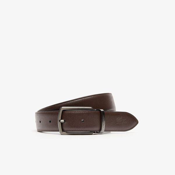 Men's Reversible Leather Belt And 2 Buckles Gift Set, NOIR MARRON, hi-res