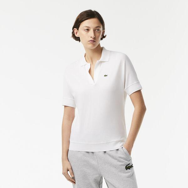 Women's Lacoste Flowy Piqué Polo Shirt, BLANC, hi-res