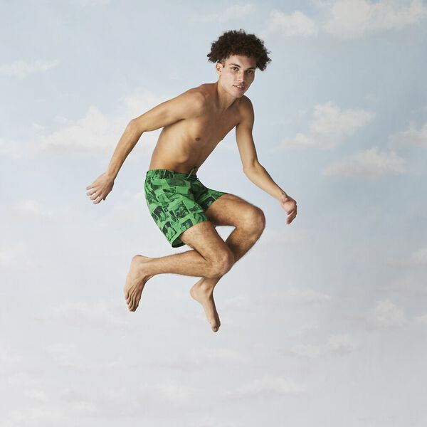 Unisex Lacoste LIVE x Polaroid Print Swimming Trunks, MALACHITE/BLACK, hi-res