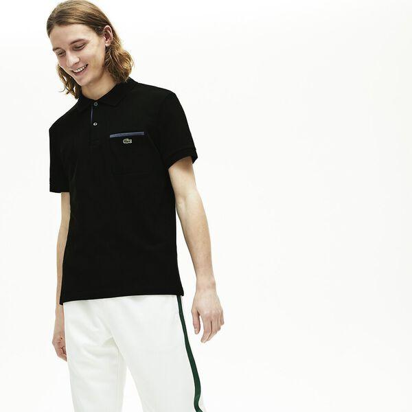 Men's Regular Fit Contrast Accents Cotton Piqué Polo, NOIR, hi-res