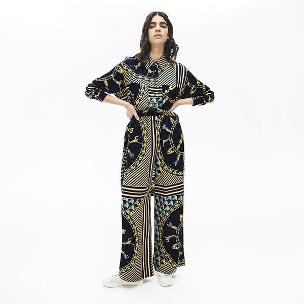 Women's Lacoste LIVE Scarf Print Loose Pants, MARINE/MULTICO, hi-res