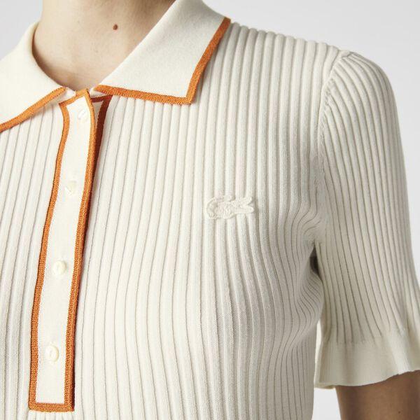 Women's Flounced Sleeve Knit Polo, FLOUR/FANGO, hi-res