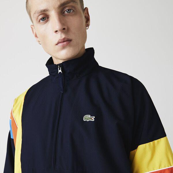 Men's SPORT Zip Neck Lightweight Water-Resistant Jacket, NAVY BLUE/UTRAMARINE, hi-res