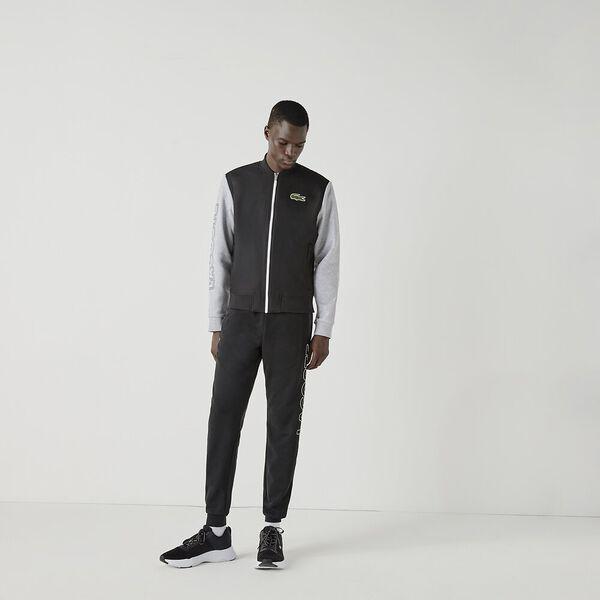 Men's SPORT Two-Tone Print Fleece Zip Teddy Jacket, BLACK/SILVER CHINE-WHITE, hi-res