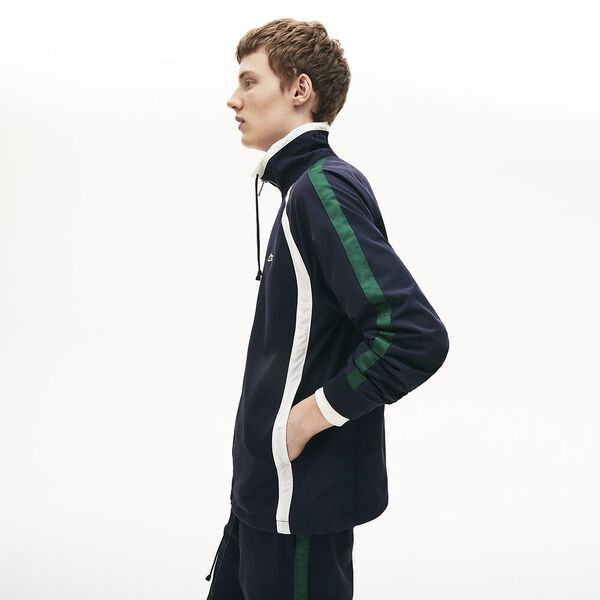 Men's Zippered Heritage Jacket, MARINE SOMBRE/FARINE-VERT, hi-res