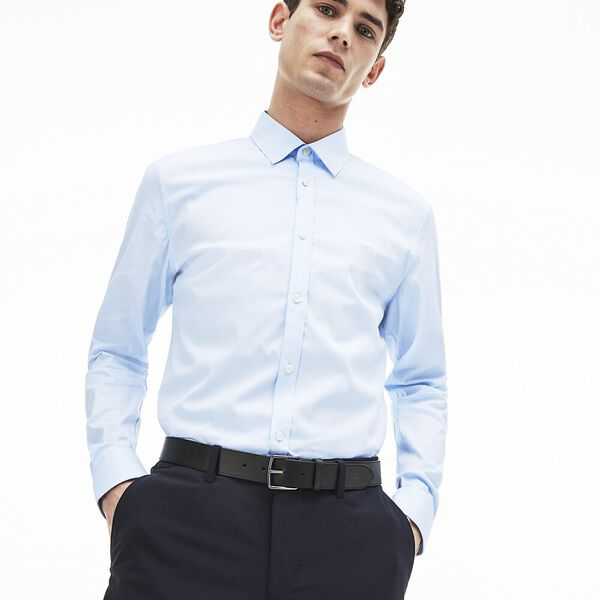 Men's Slim Stretch Solid Poplin Shirt, RILL, hi-res