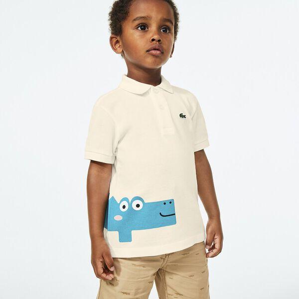 Boy's Crocodile Print  Polo Shirt, LAPONIE, hi-res
