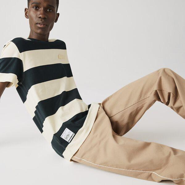 Men's Crew Neck Wide Striped Cotton T-shirt