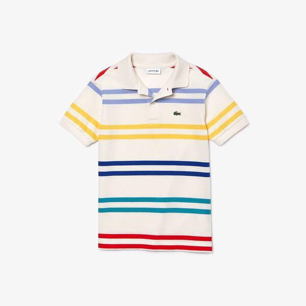 Boy's Striped Coloured  Polo Shirt, LAPONIE/MULTICO, hi-res