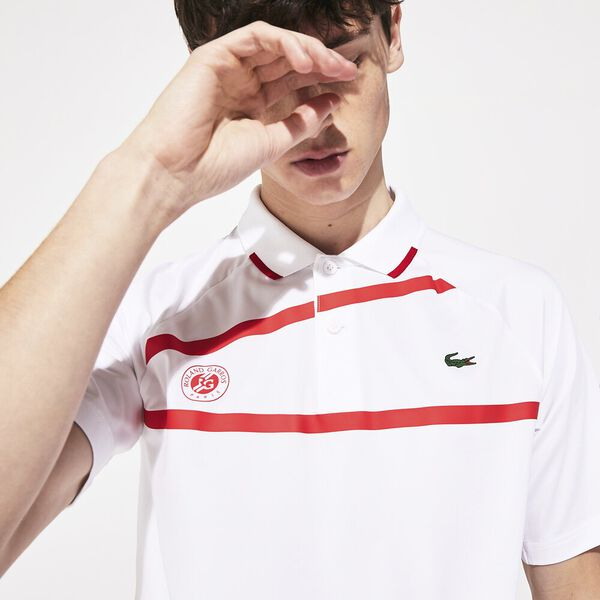 Men's Novak Roland Garros Tech Jersey Polo, BLANC/POMPIER-POMPIER, hi-res