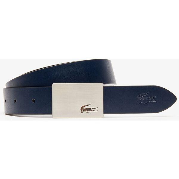 Men's Reversible Leather Belt And 2 Buckles Gift Set, NOIR MARINE 166, hi-res
