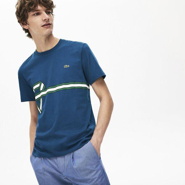 Men's Stripe Print Crew Neck T-shirt, LEGION, hi-res