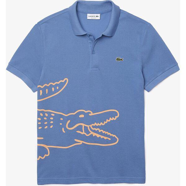 Men's Crocodile Print Cotton Piqué Polo, TURQUIN BLUE, hi-res