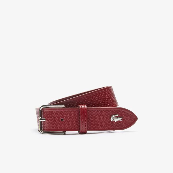 Men's Metal Crocodile Stitched Leather Belt, ALIZARINE, hi-res