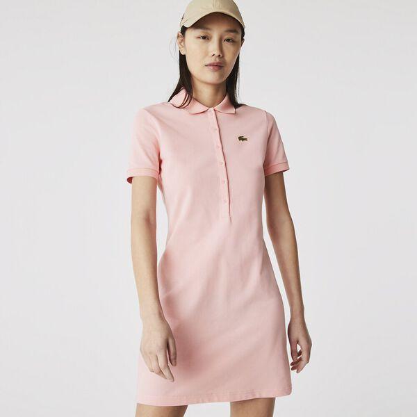 Women's LIVE Stretch Cotton Piqué Polo Dress, BAGATELLE PINK, hi-res