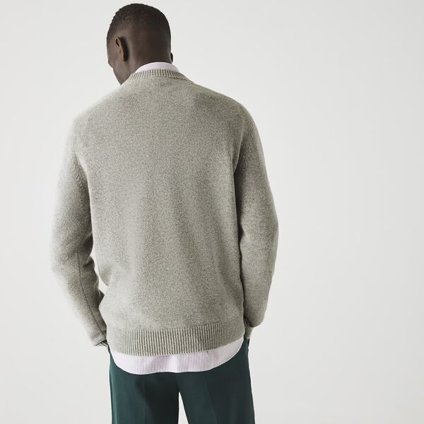 Men's Crew Neck Cotton And Wool Blend Sweater, SILVER CHINE, hi-res