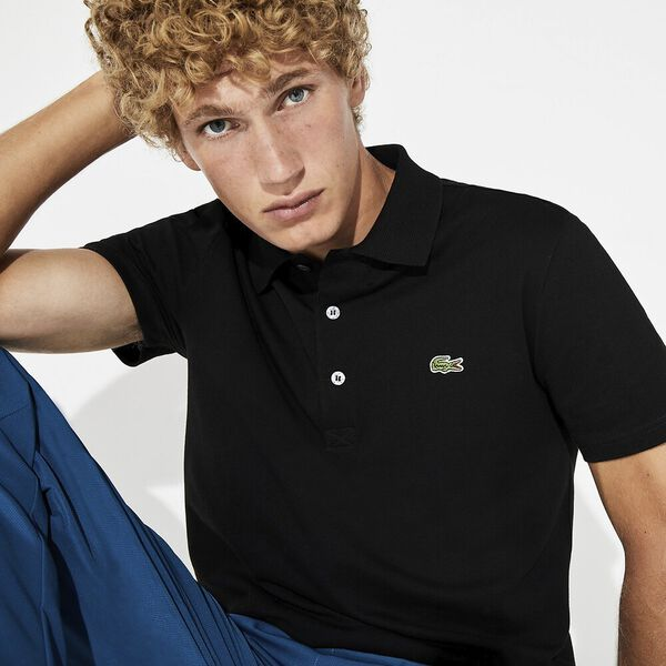 Men's Cotton Piqué Slim Fit Polo, BLACK, hi-res