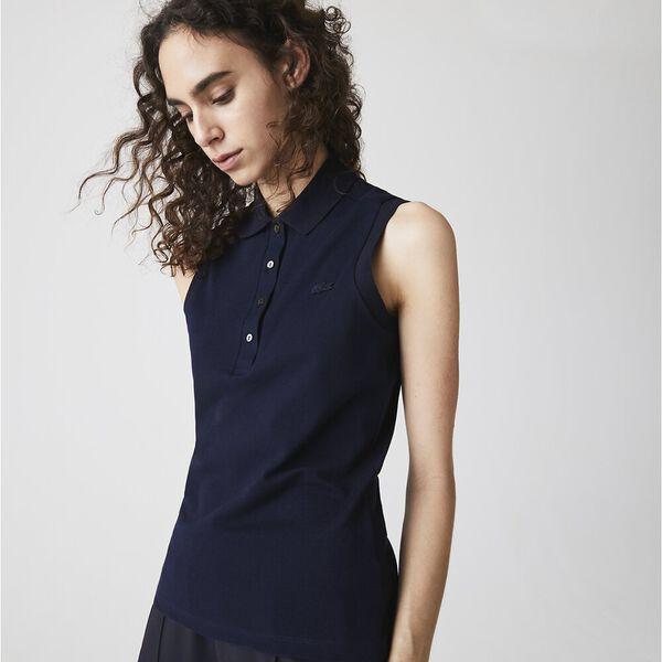 Women's Sleeveless Cotton Piqué Polo, MARINE, hi-res