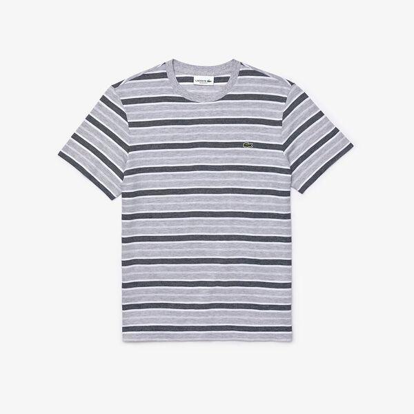 Men's Striped Crew Neck T-shirt, ARGENT CHINE/BLANC-MARINE, hi-res